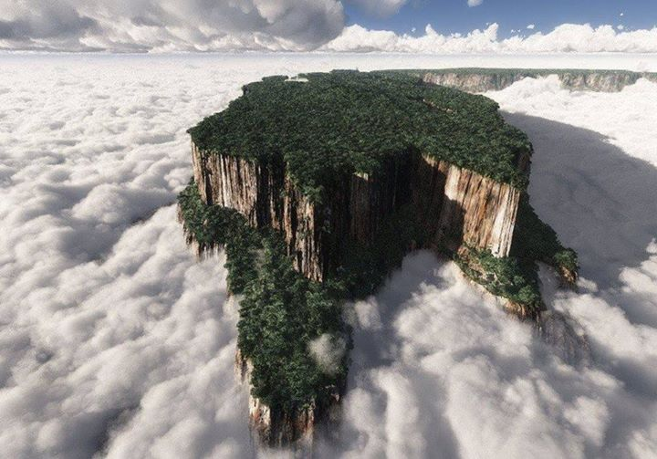 雲海に浮かぶギアナ高地のテプイ(テーブルトップ・マウンテン)
