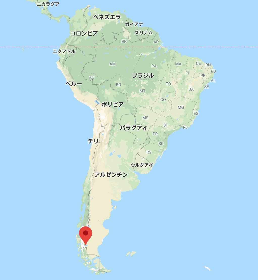 氷河で有名なアルヘンティノ湖の位置(南米アルゼンチン)