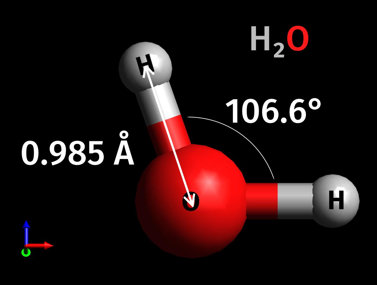 水分子の構造(水素原子の結合角度と結合距離)