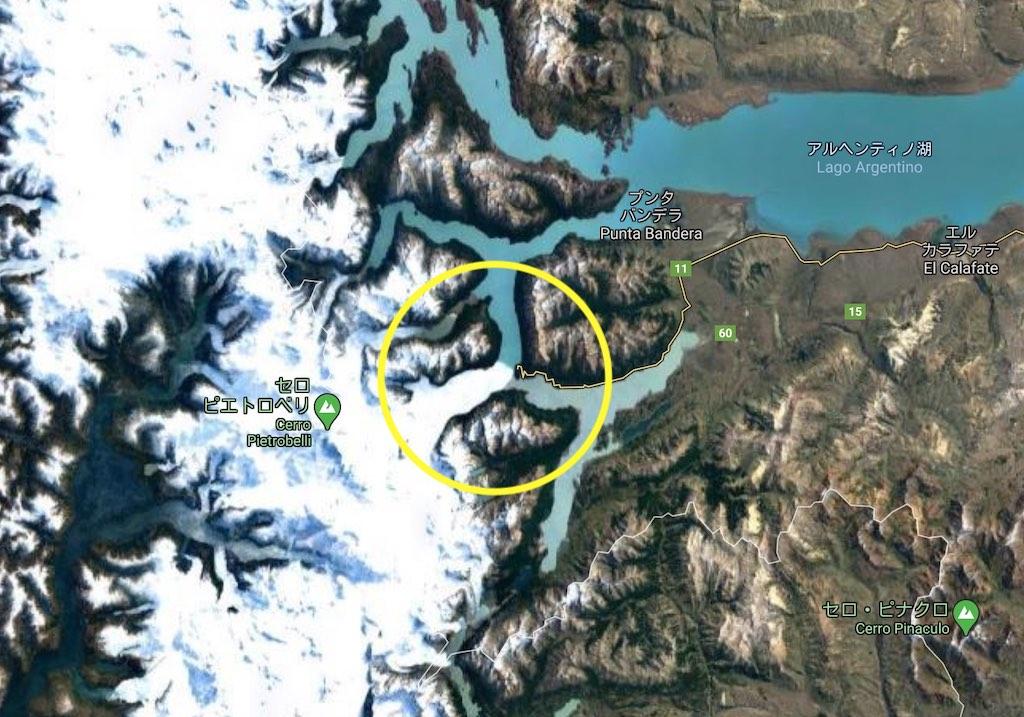 ペリート・モレノ氷河の場所の衛星写真