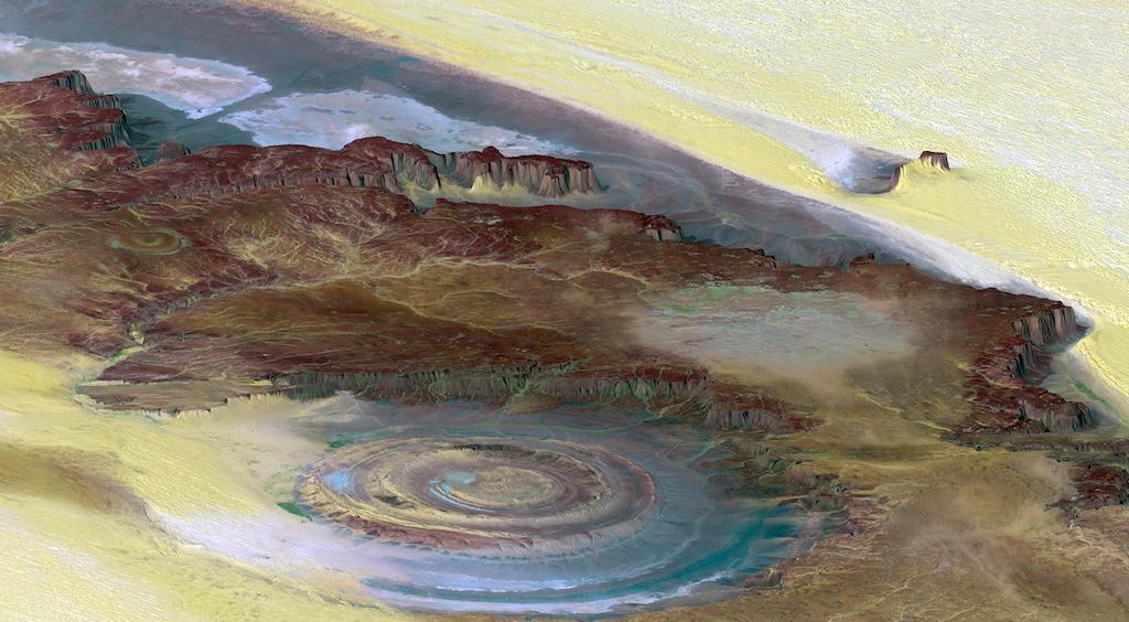 地形の高低差を強調した画像(サハラの目・リシャット構造)