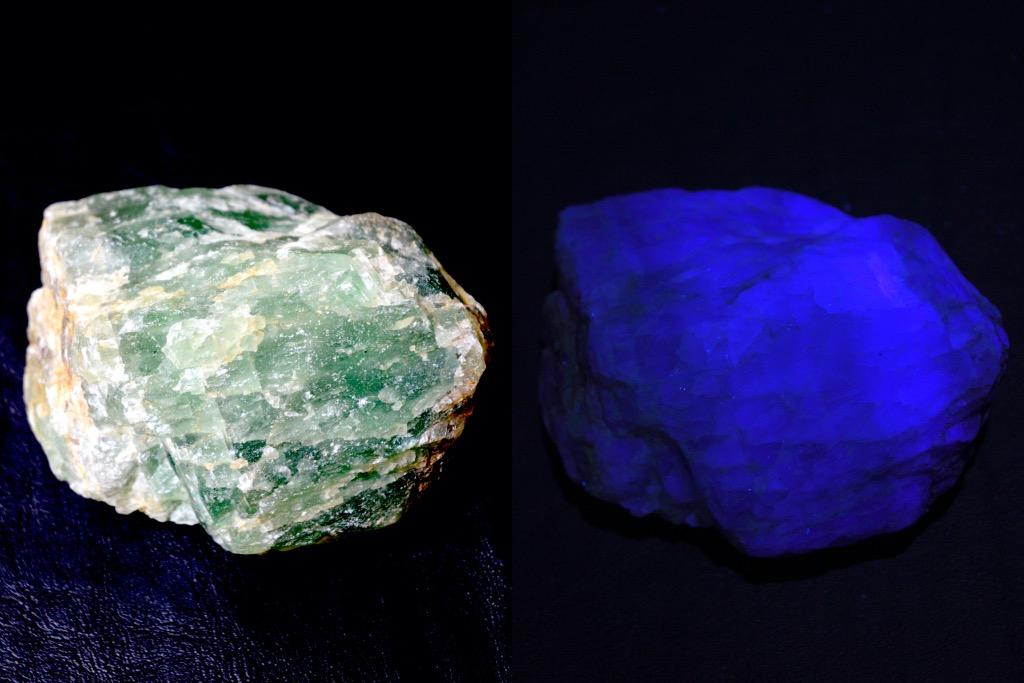蛍石(フローライト)が紫外線ライトで光る様子